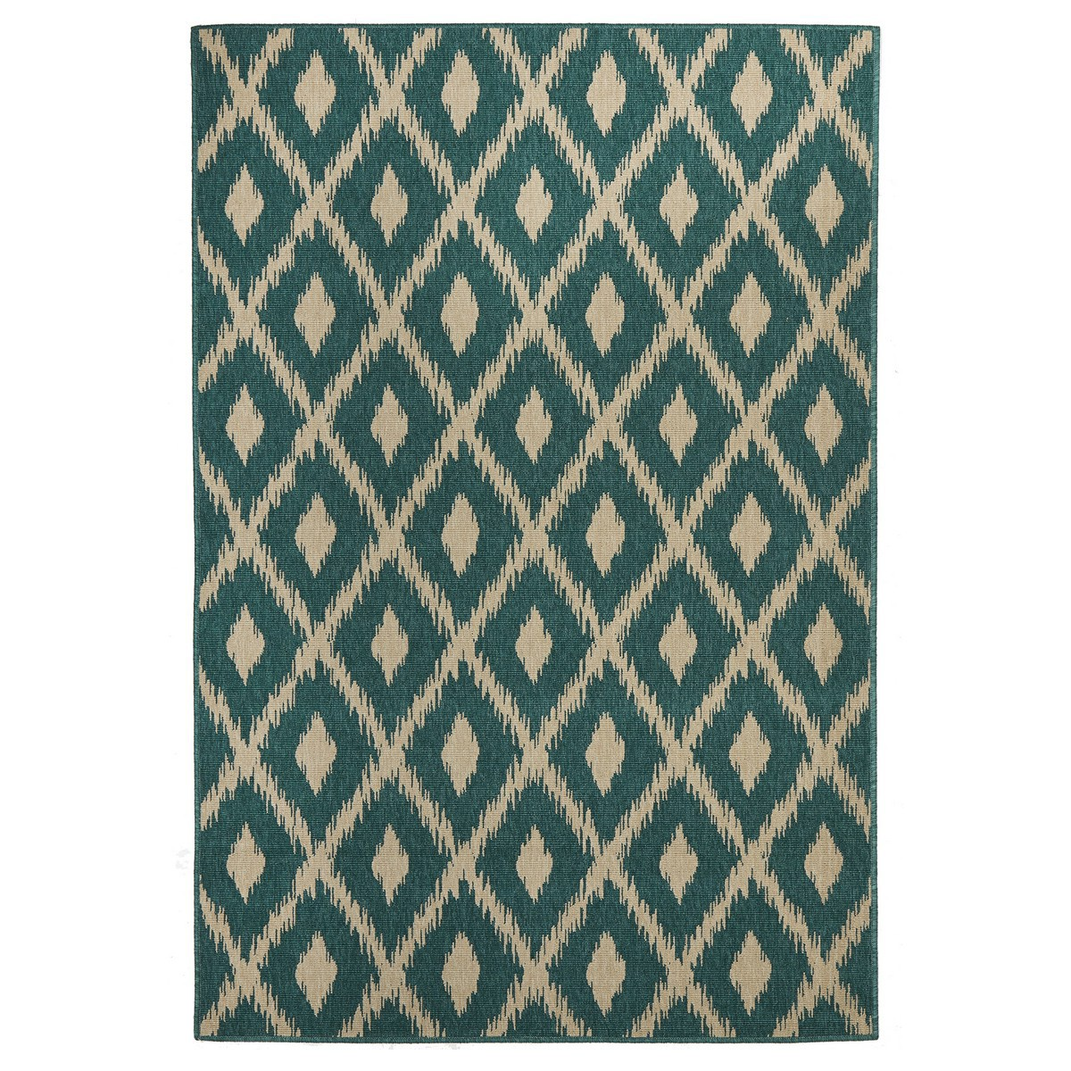Alfresco Avoca Trible Egyptian Made Outdoor Rug, 160x110cm, Turquoise
