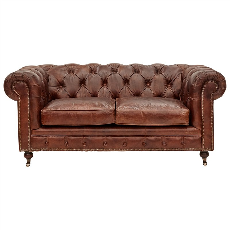 Kensington Aged Leather Chesterfield Sofa, 2 Seater, Vintage Brown