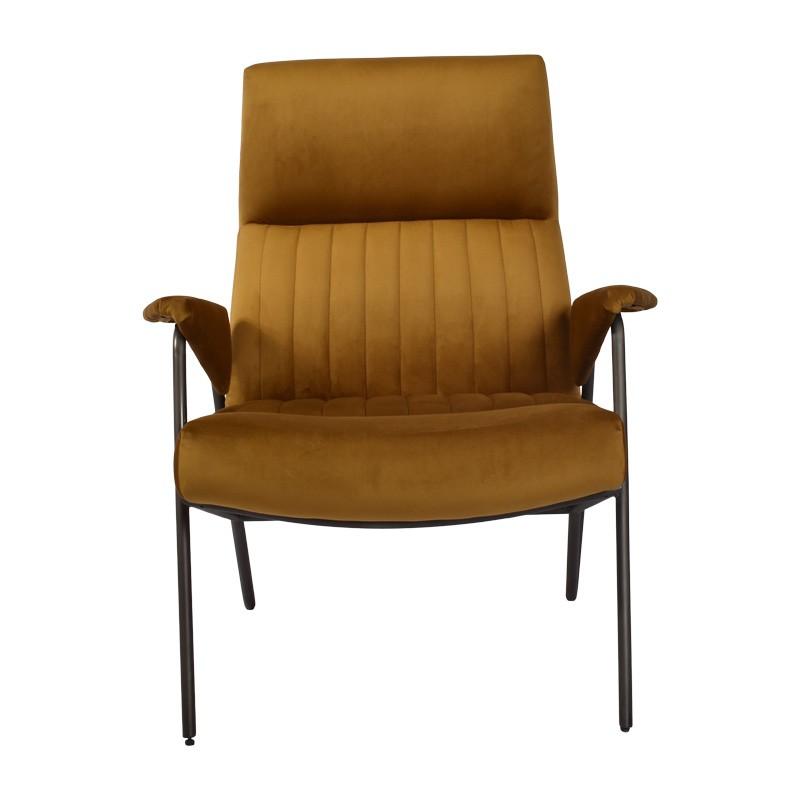 Phoebe Velvet Fabric Armchair, Mustard