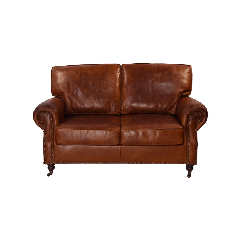 Jesmond Aged Leather Sofa, 2 Seater