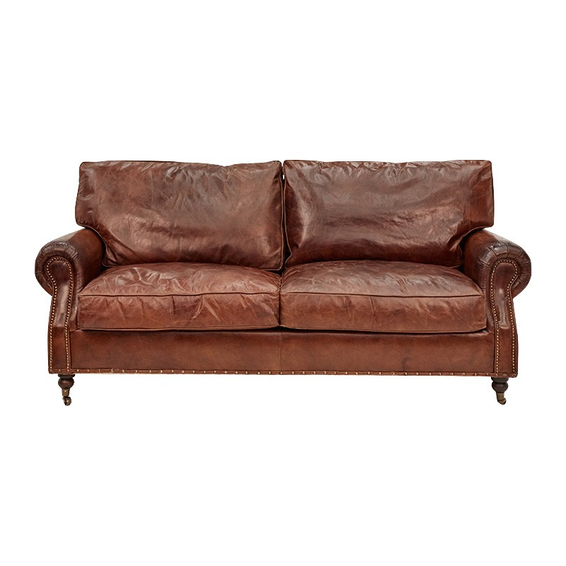 Jesmond Aged Leather Sofa, 3 Seater