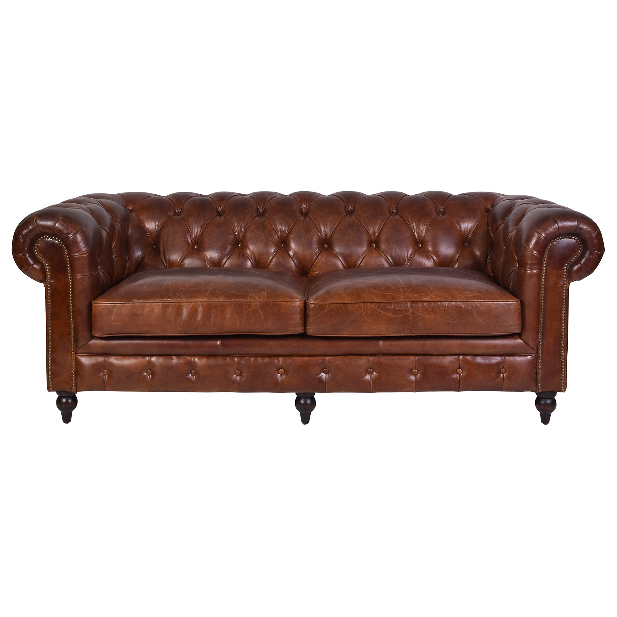 Barmston Aged Leather Chestfiled Sofa, 3 Seater