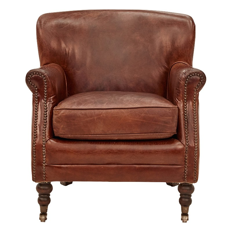 Bramley Vintage Leather Armchair, Cigar