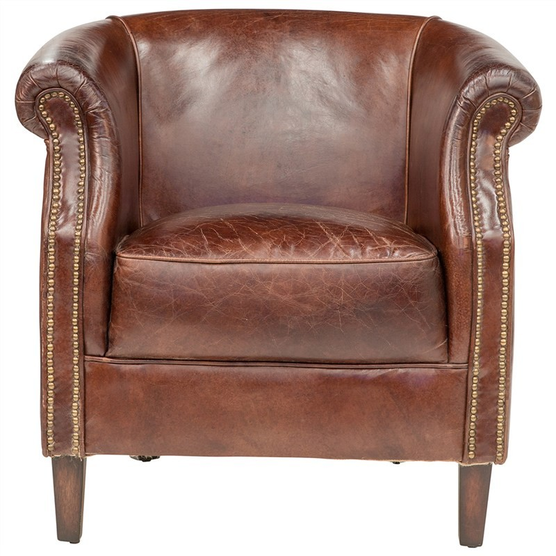 Mosman Aged Leather Tub Chair