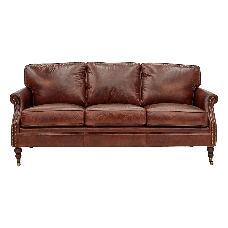Edinburgh Aged Leather Sofa, 3 Seater