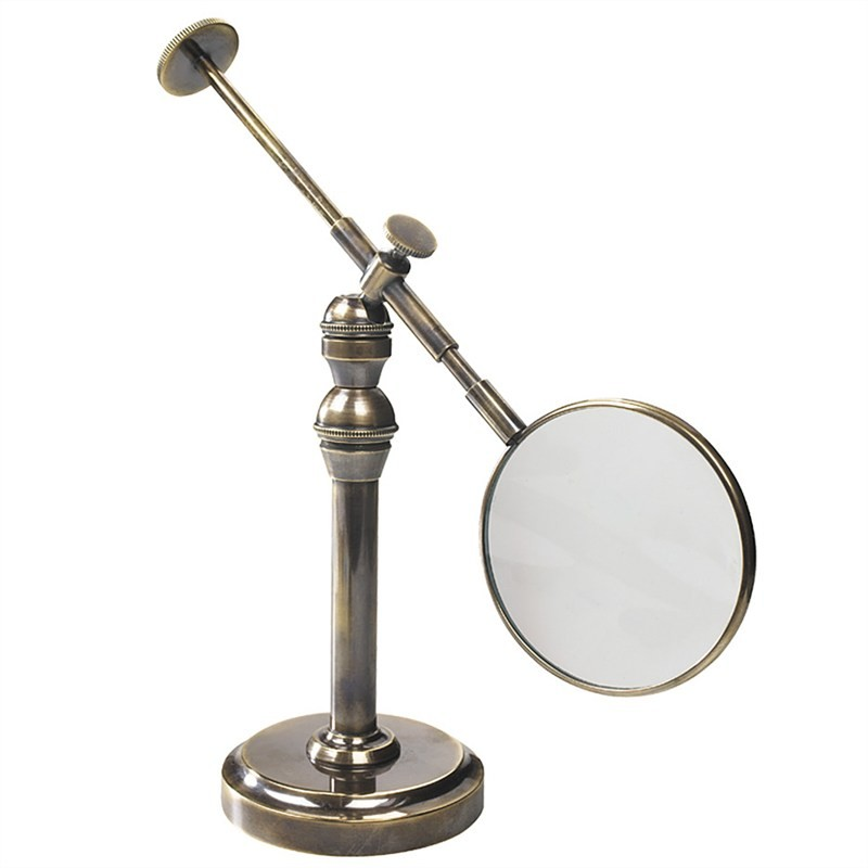 Empress Solid Brass Adjustable Reading Glass with Stand