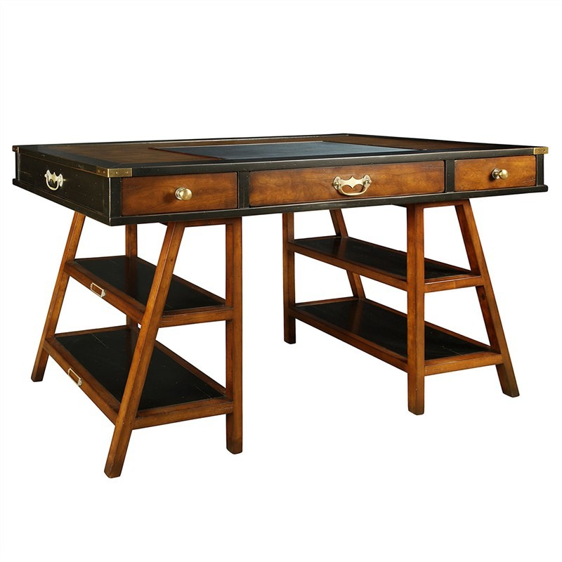 Navigators Basswood Trestle Desk, Black