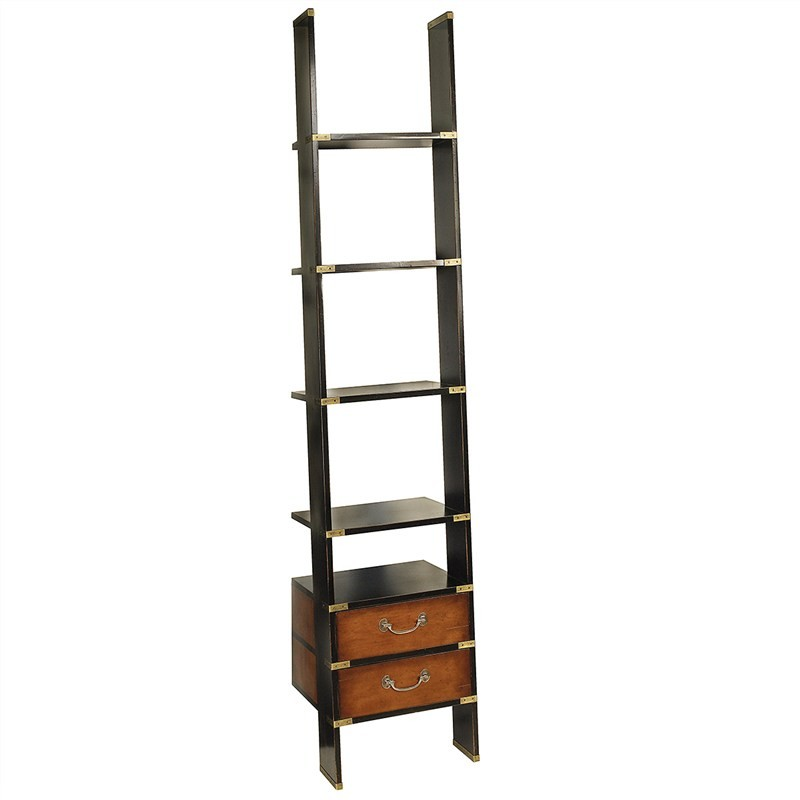 Library Timber Ladder Shelf, Black