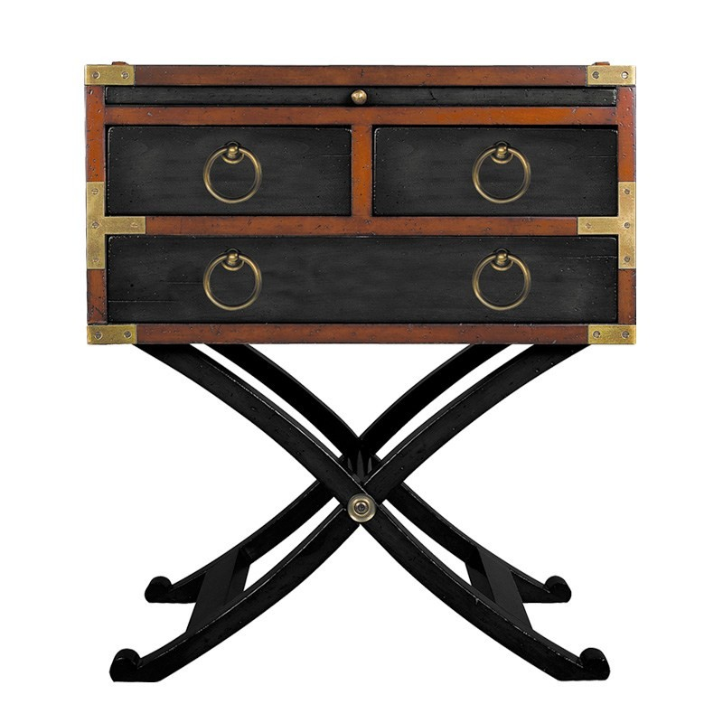 Bombay Solid Timber Box Side Table - Black