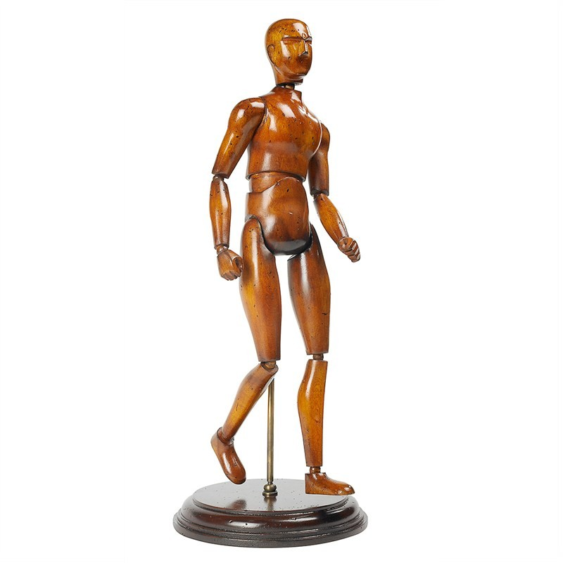 Artist Handcrafted Timber Articulated Human Figure Display, Honey