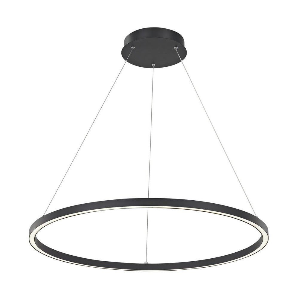 Kiran LED Ring Circle Pendant Light, 60cm, Black