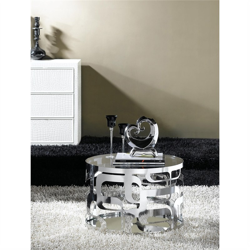 Rolna Glass & Stainless Steel Round Side Table