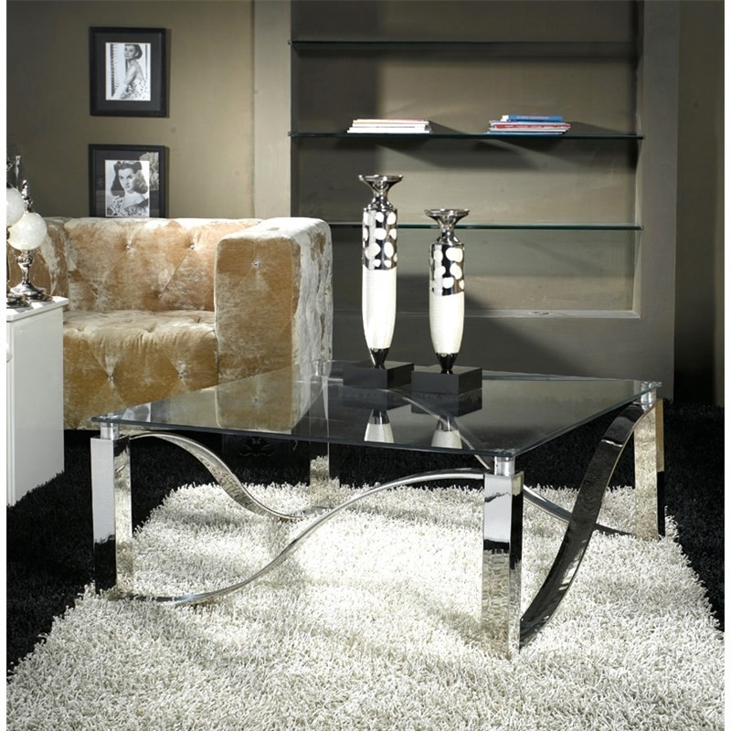 Wolska Glass & Stainless Steel Square Coffee Table, 100cm