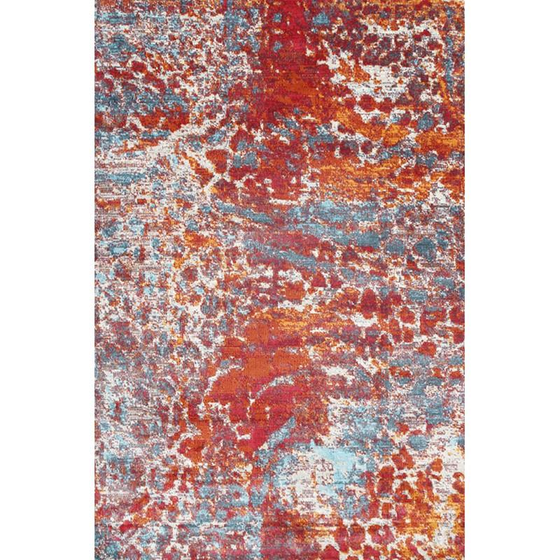 Aqua Silk Cannes Turkish Made Modern Rug, 150x220cm, Multi Red