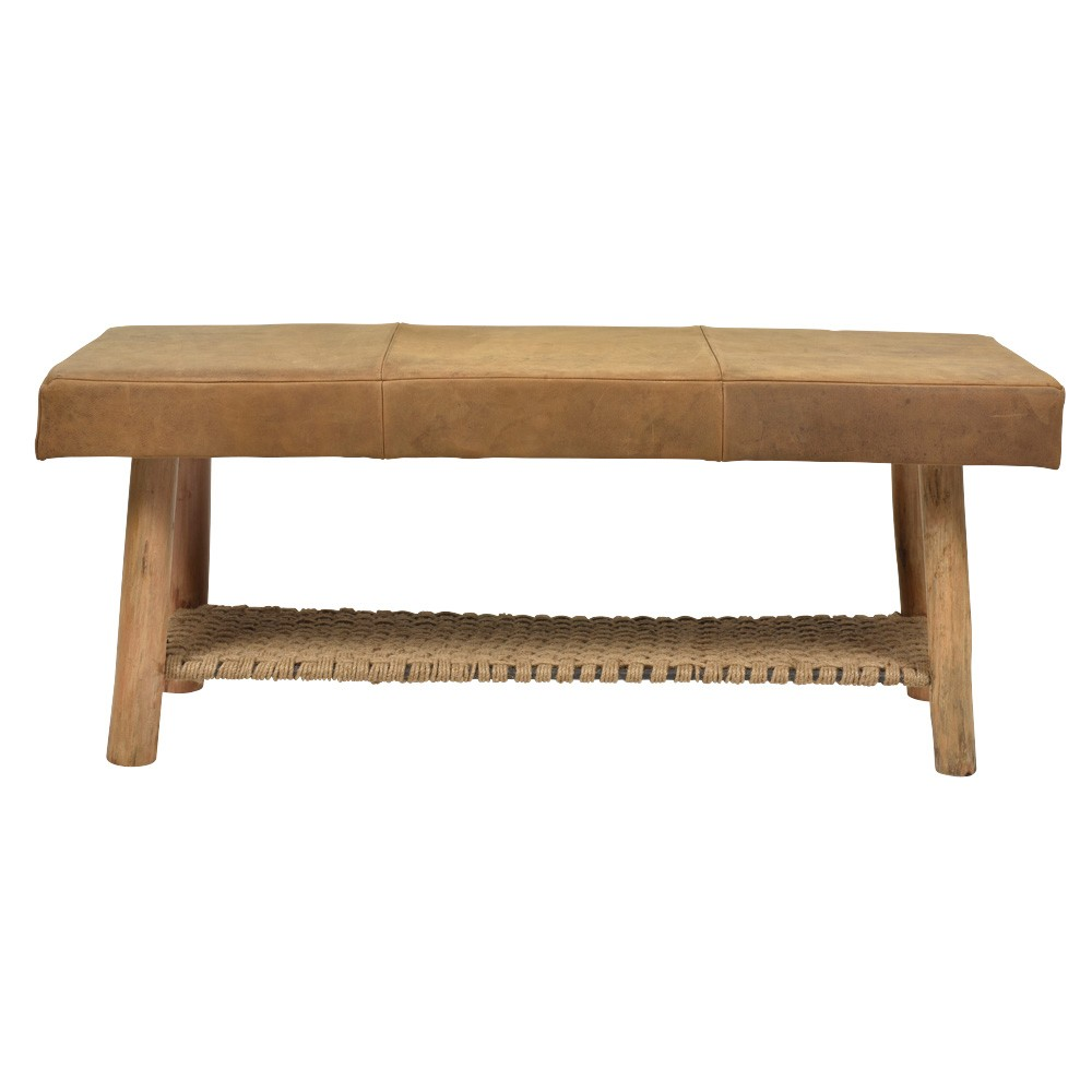 Napa Leather Bench, Tan