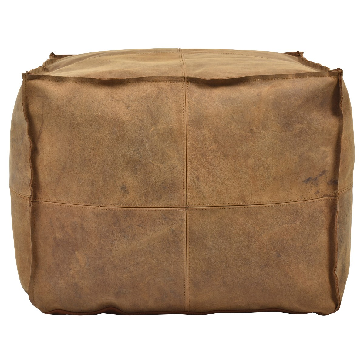 Napa Leather Square Bean Bag Ottoman, Tan