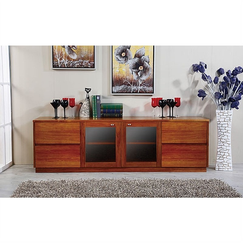 Casarano Solid Blackwood Timber 2 Door 4 Drawer 200cm TV Unit