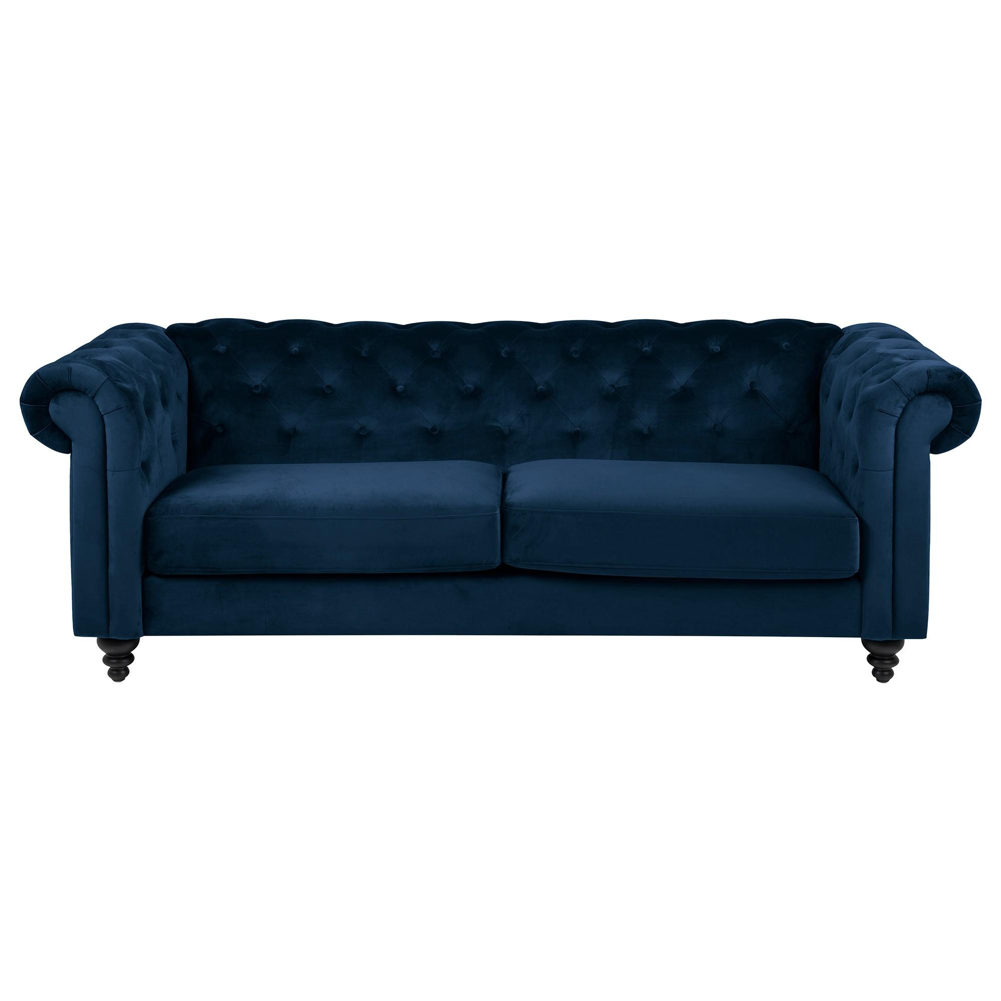 Charles Velvet Fabric Chestfield Sofa, 3 Seater, Sapphire
