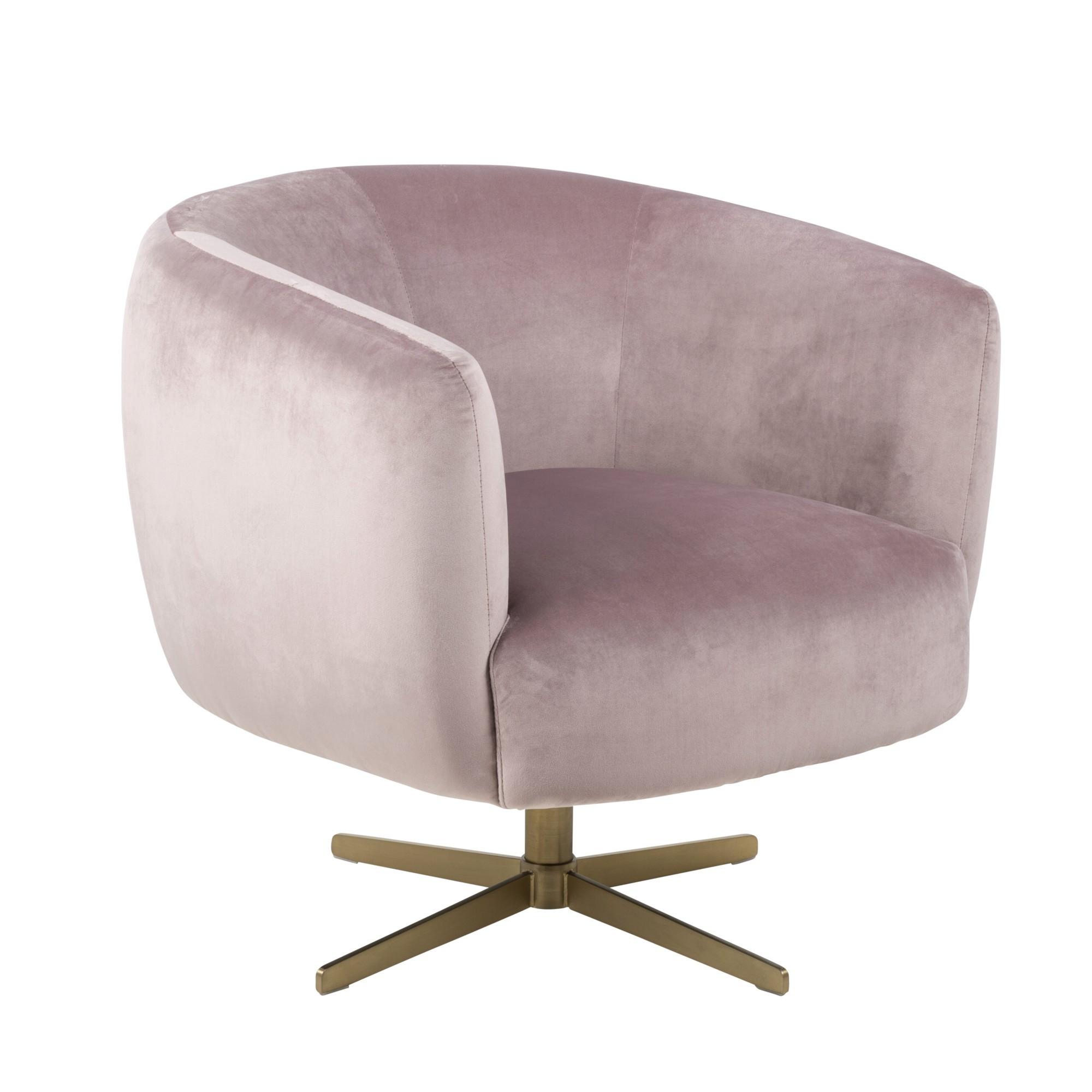 Braelynn Velvet Fabric Swivel Tub Chair, Dusty Rose