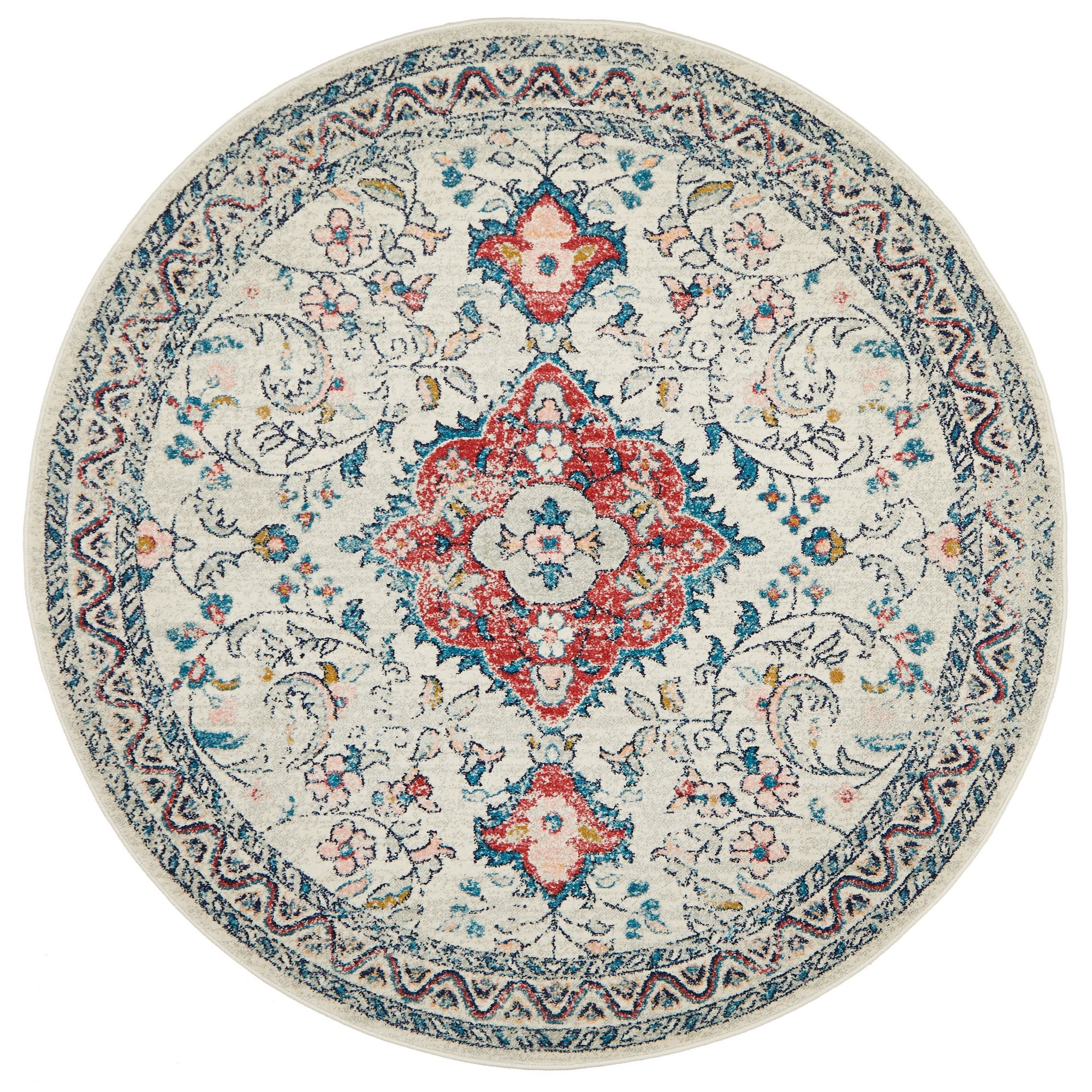 Avenue No.705 Tribal Round Rug, 240cm, Off White / Red