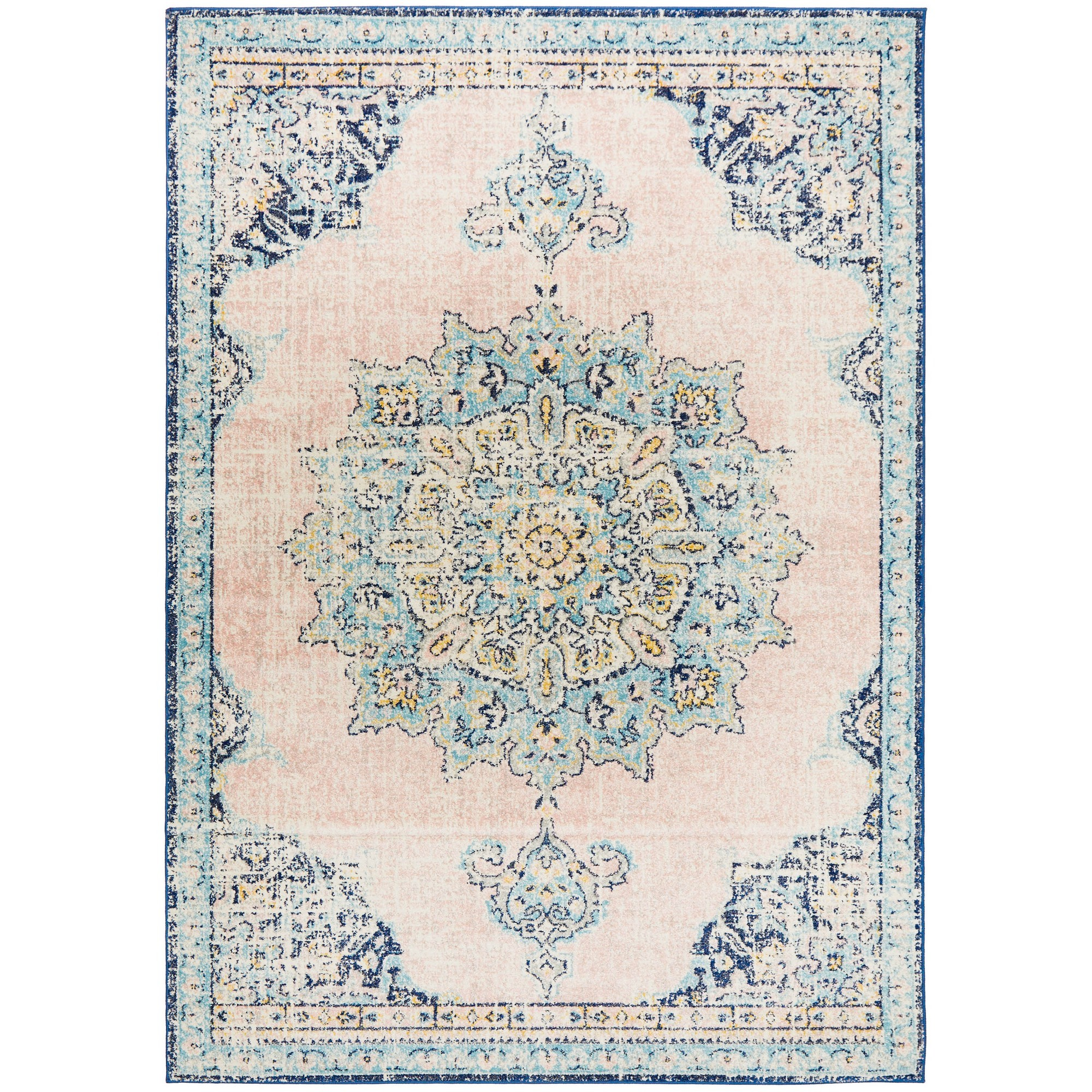 Avenue No.706 Tribal Rug, 400x300cm, Salmon / Blue