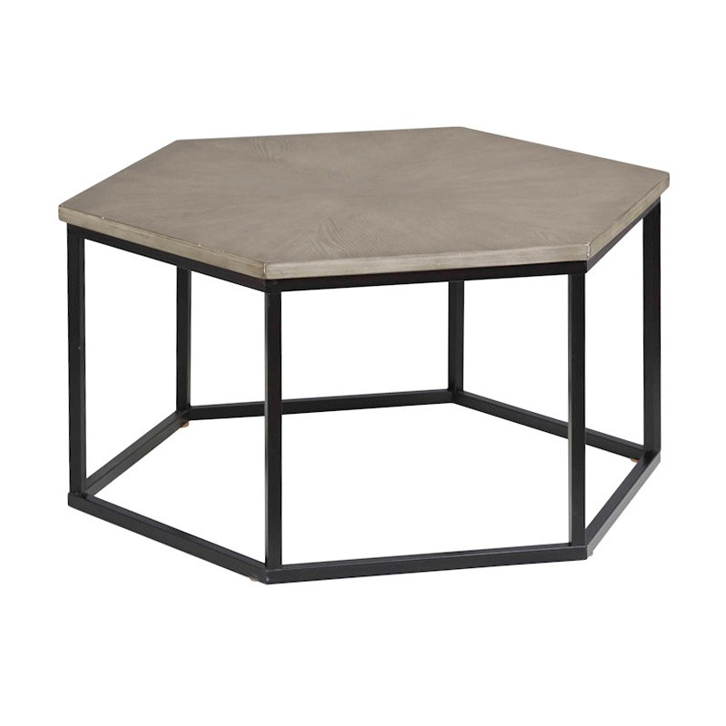 Oxford Timber & Metal Hexagonal Coffee Table, 92cm