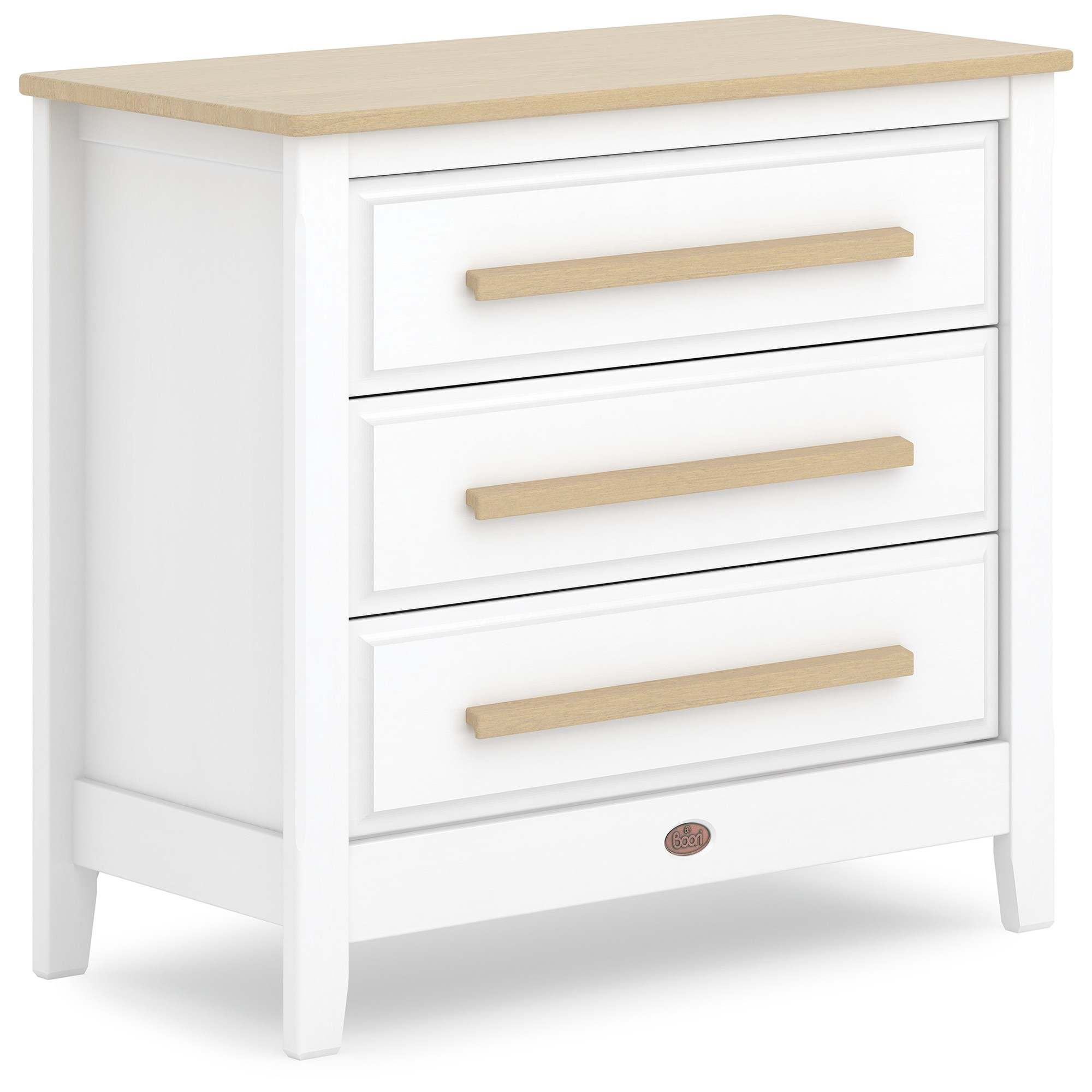 Boori Linear Wooden 3 Drawer Chest, Barley White / Almond
