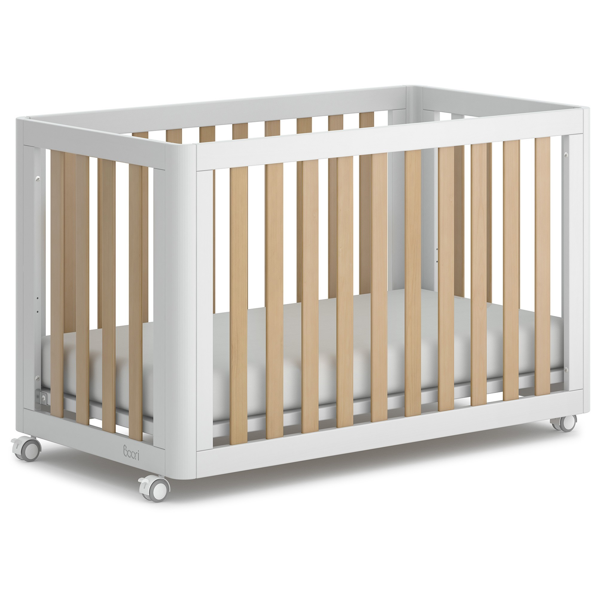 Boori Turin Wooden Compact Cot, Barley White / Almond