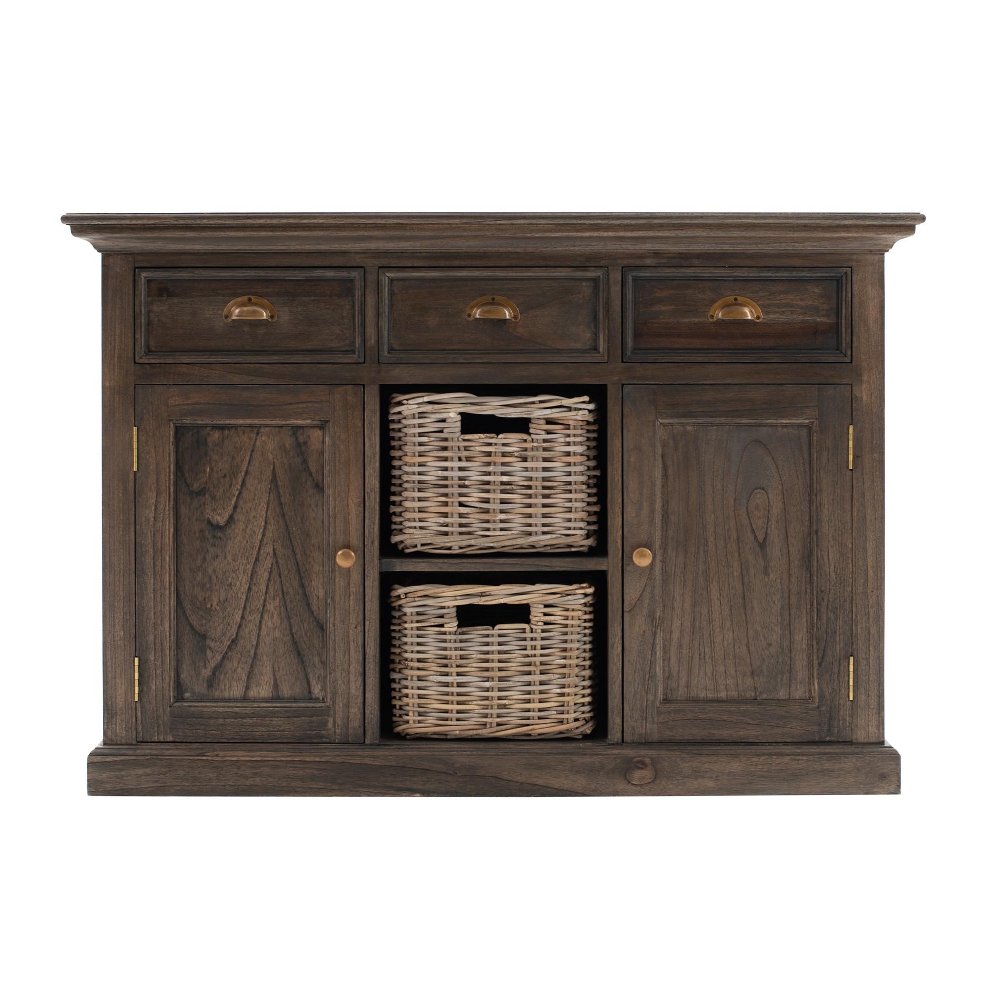 Halifax Mindi Wood 2 Door 3 Drawer Buffet Table with 2 Rattan Baskets, 125cm