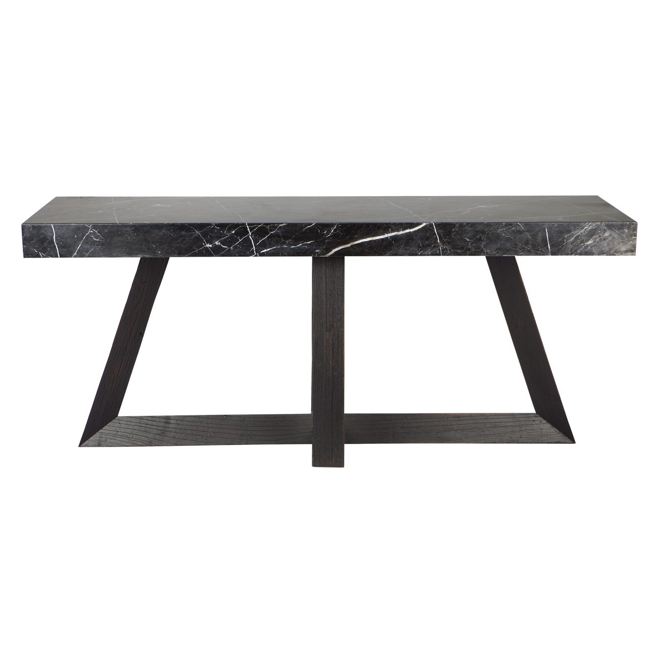 Ebony Reclaimed Elm & Marble Top Console Table, 180cm