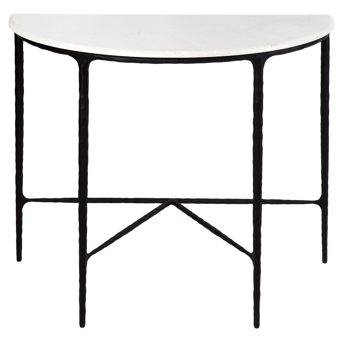 Heston Marble & Iron Demilune Table, 90cm, Black