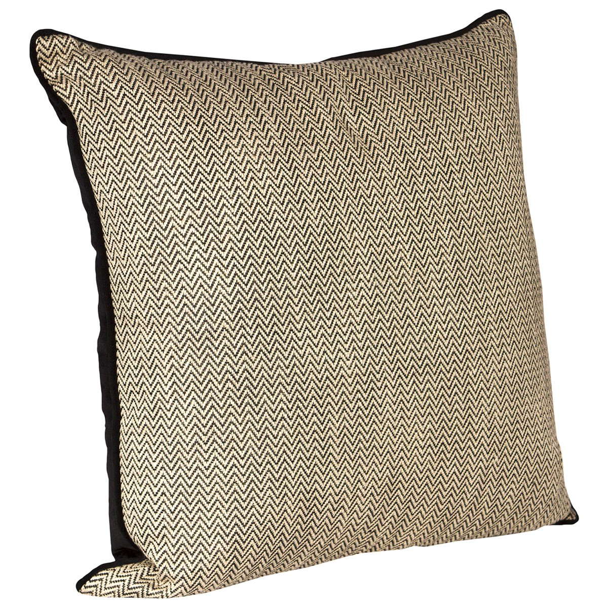 Caesar Feather Filled Scatter Cushion, Black Herringbone