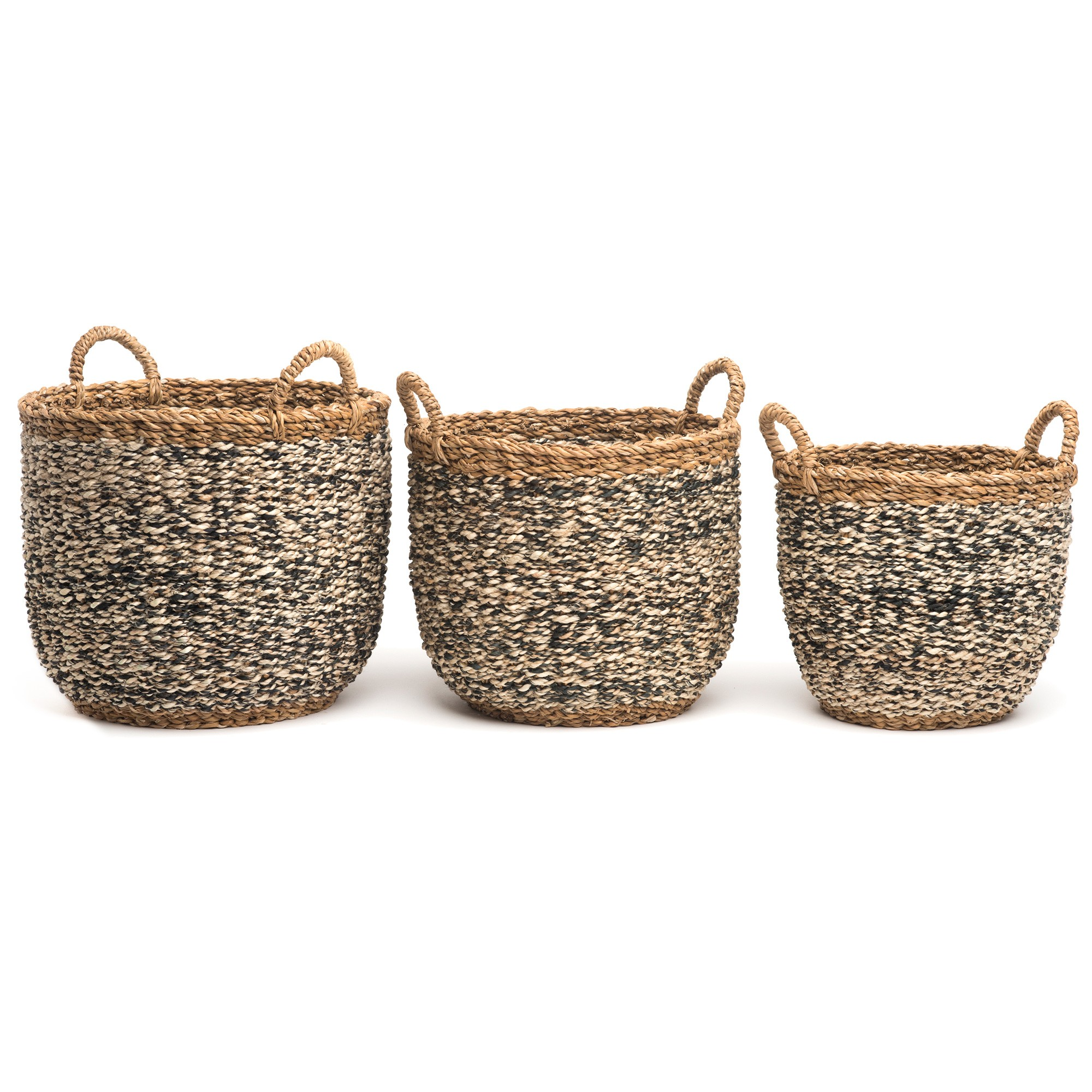 Ebony 3 Piece Handmade Seagrass & Jute Basket Set
