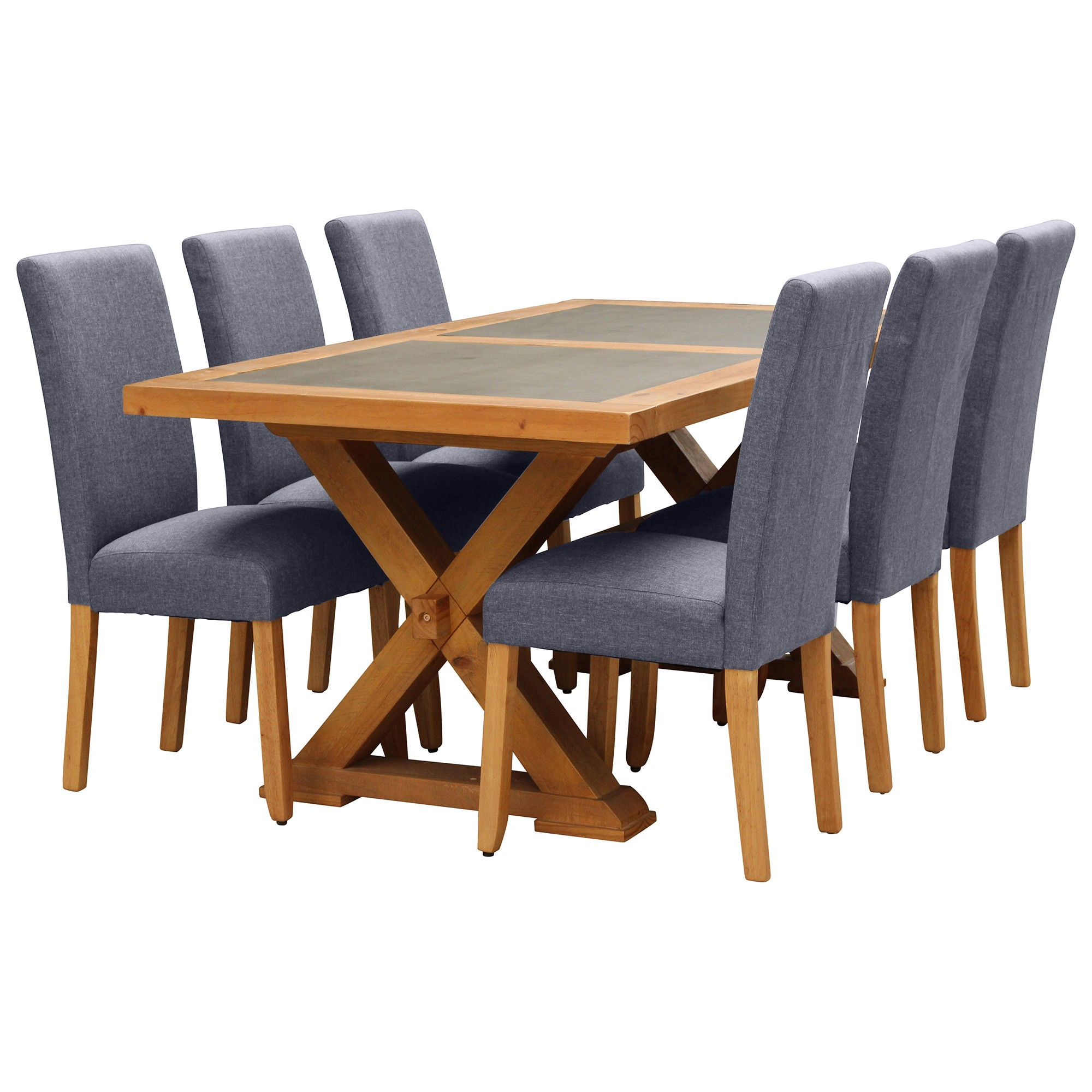 Sefton 9 Piece Pine Timber Dining Table Set, 210cm, Light Grey Arwen Chair