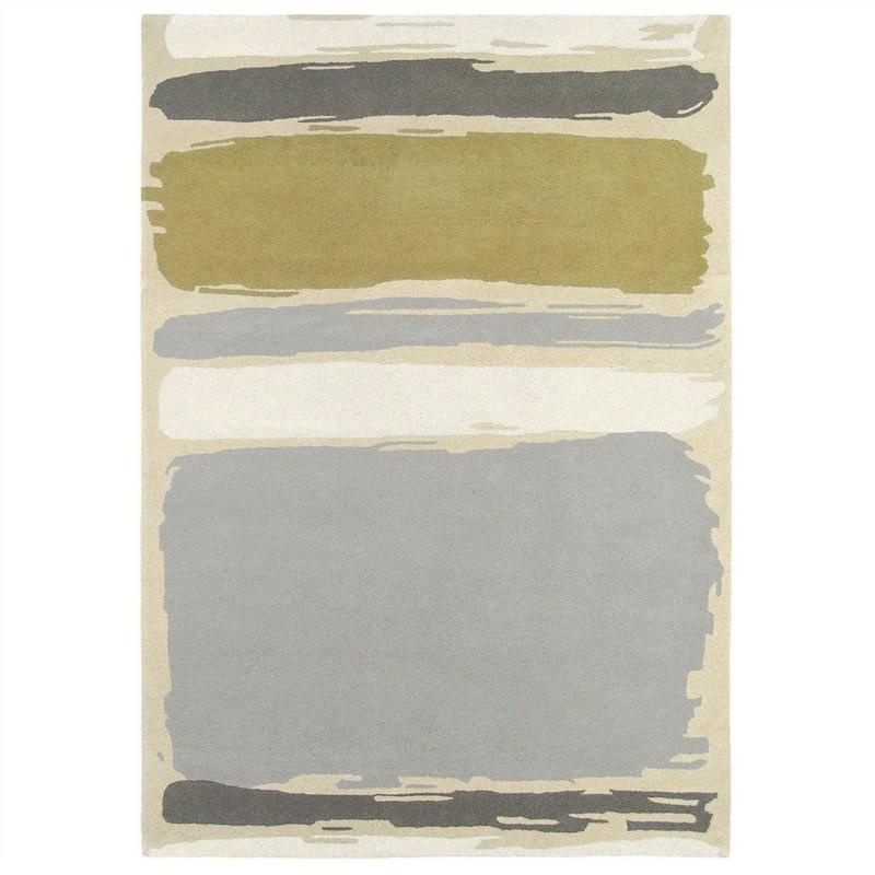 Sanderson Abstract Designer Wool Rug, 280x200cm, Linden / Silver