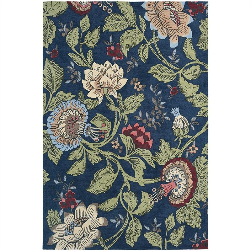 Wedgwood Passion Flower Hand Tufted Designer Wool Rug, 280x200cm, Navy