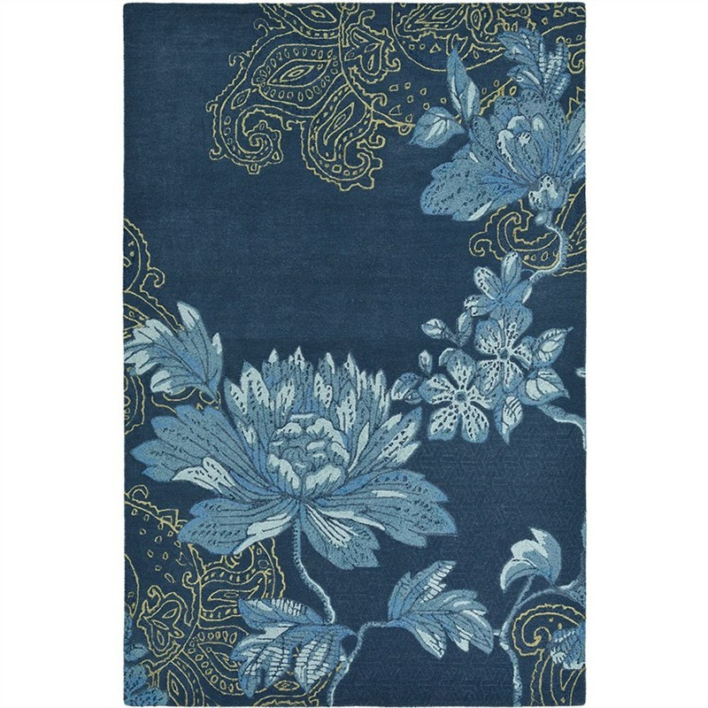 Wedgwood Fabled Floral Hand Tufted Designer Wool Rug, 280x200cm, Navy