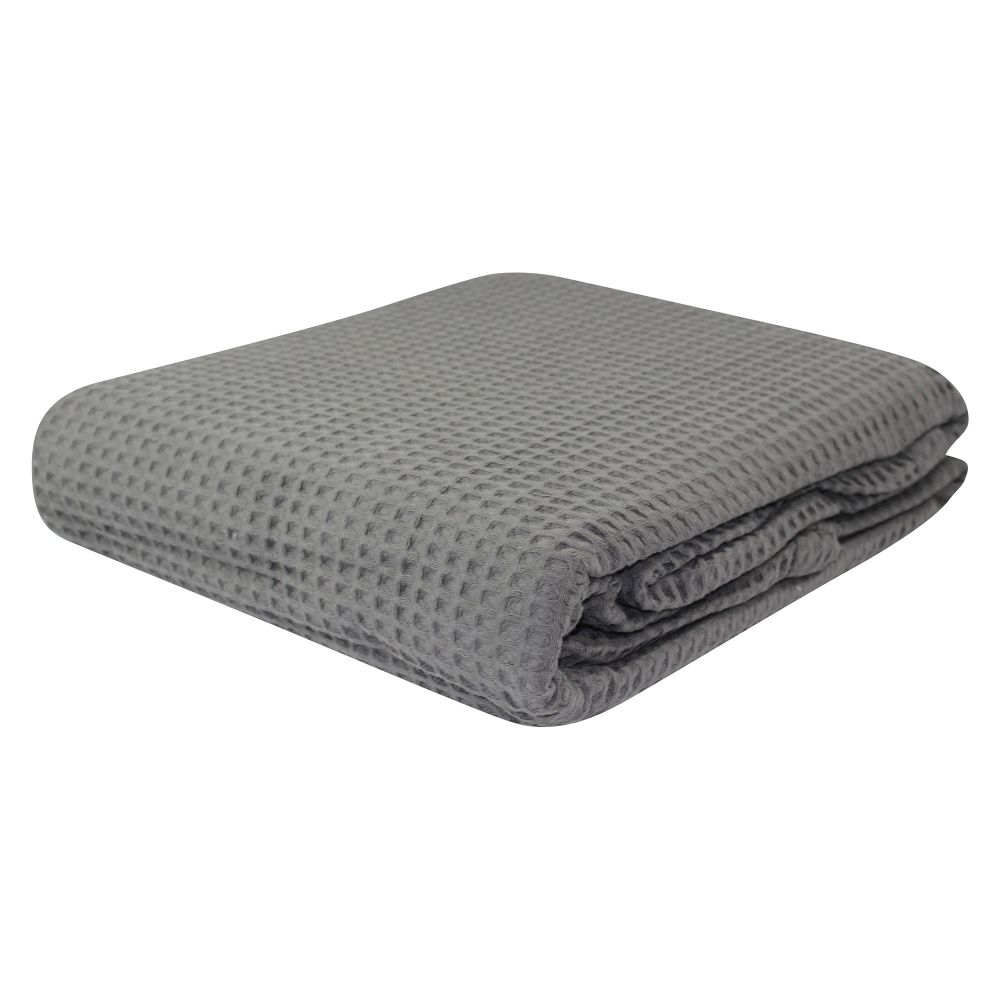 Bas Phillips Regatta Egyptian Cotton Waffle Blanket, Queen, Charcoal