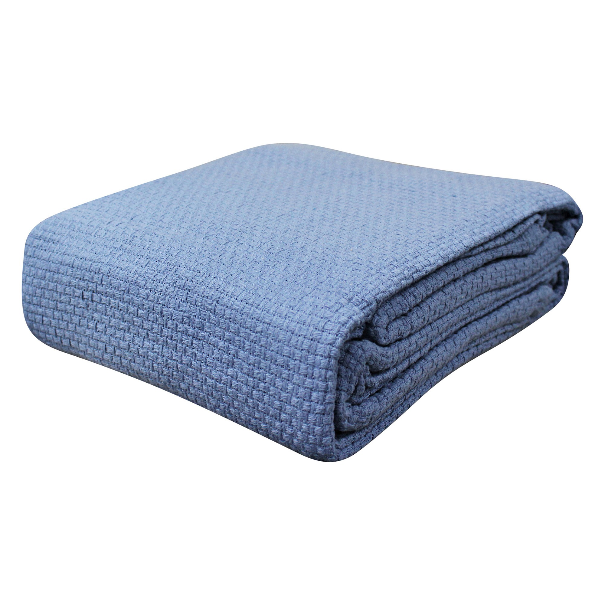 Odyssey Living Pebble Weave Cotton Blanket, Single, Denim