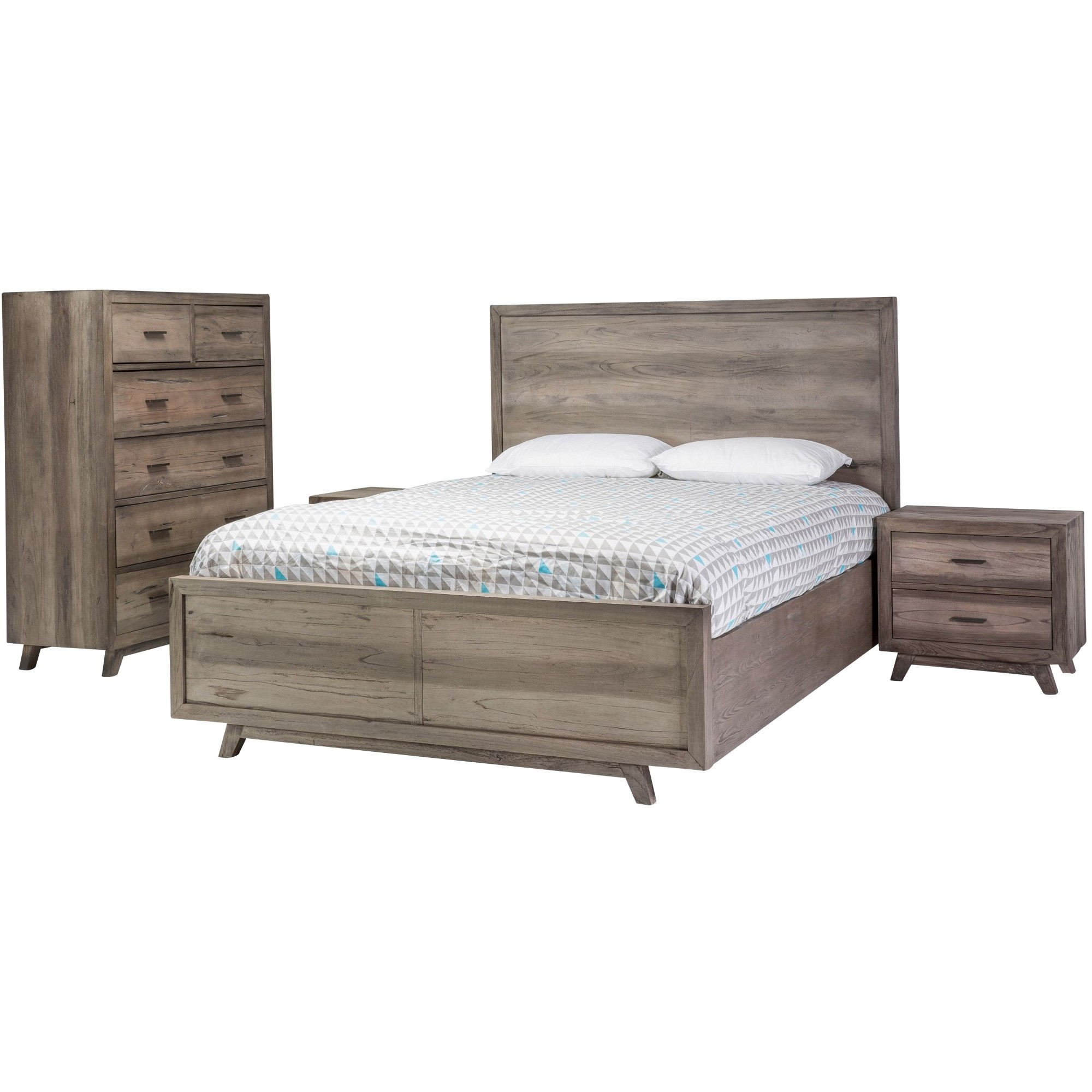 Abriana 4 Piece Hardwood Timber Bedroom Tallboy Suite, Queen
