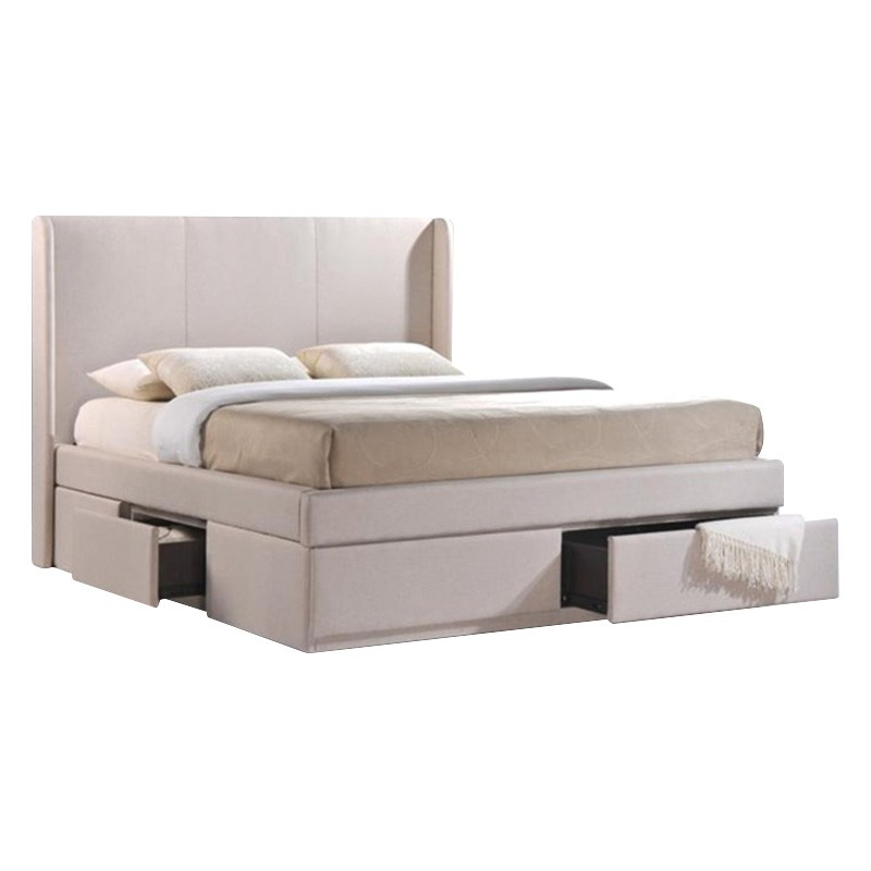 Angas Fabric Platform Bed with Side & End Drawers, Queen, Pearl