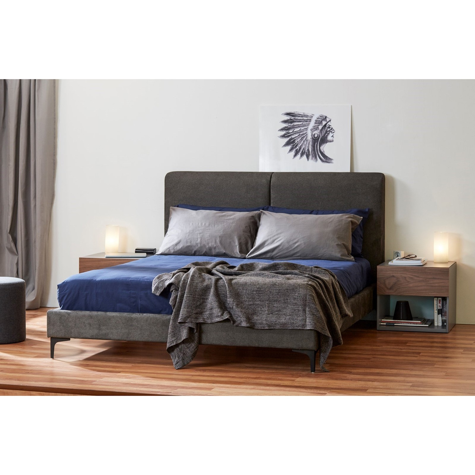 Megan Fabric Platform Bed, King, Charcoal