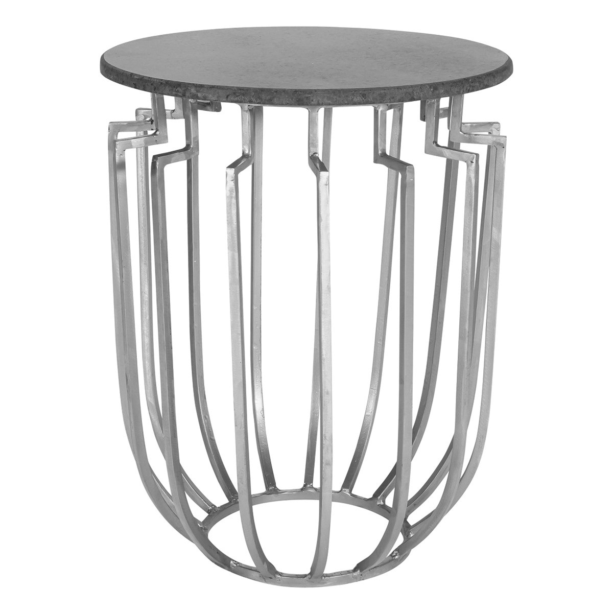 Pastora Granite & Iron Round Side Table