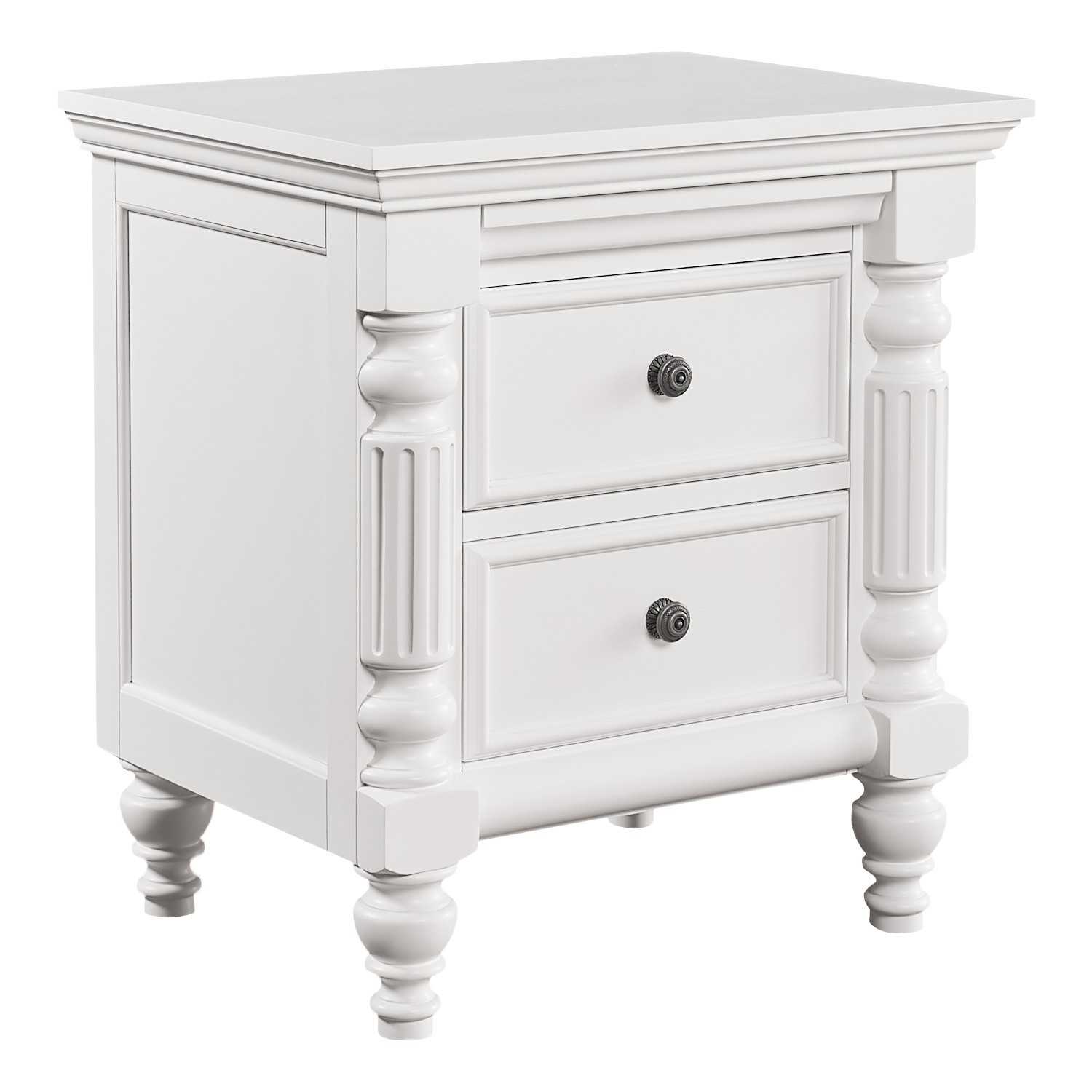 Fitzroy Poplar Timber Bedside Table, White