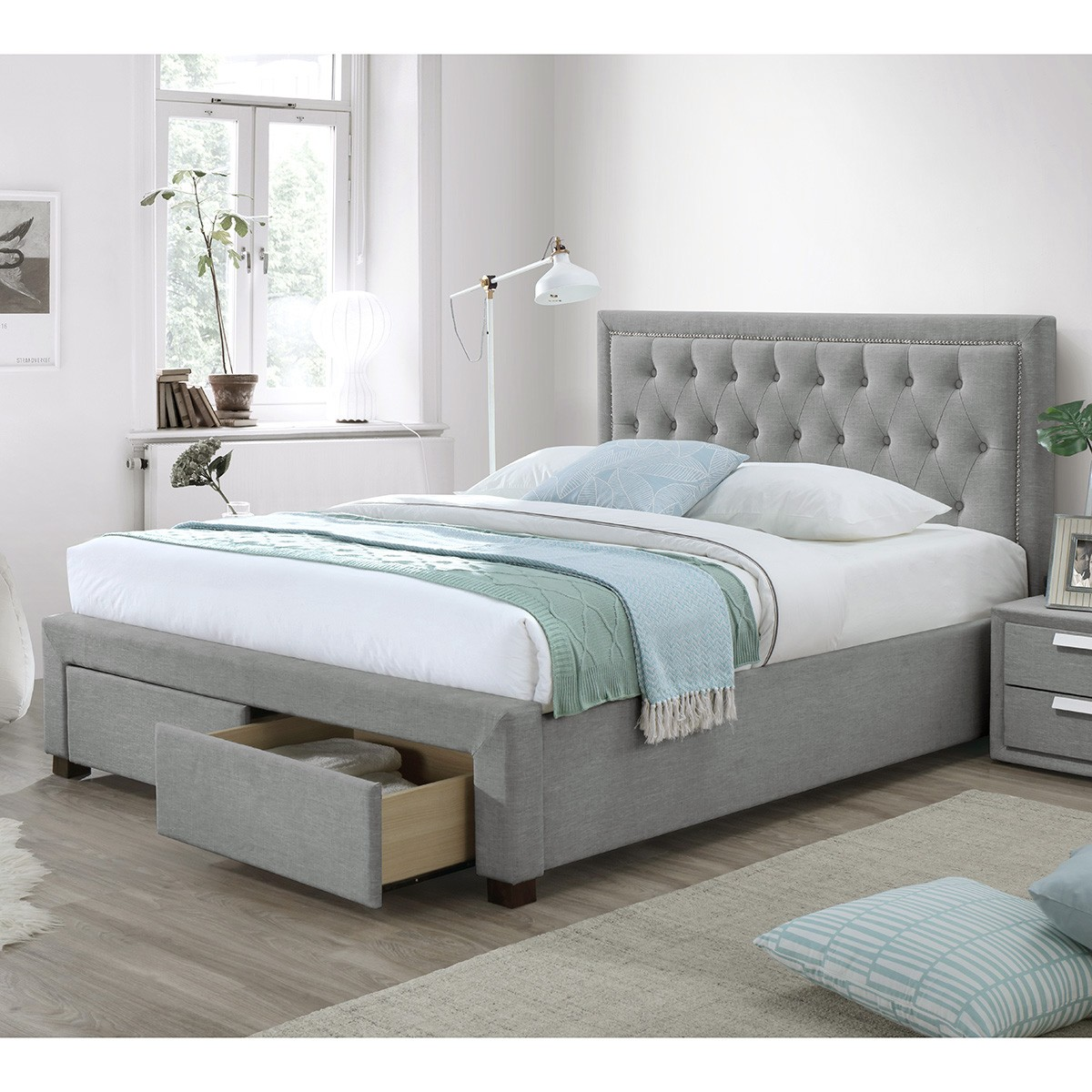 Wootton Fabric Bed with End Drawers, Queen, Grey