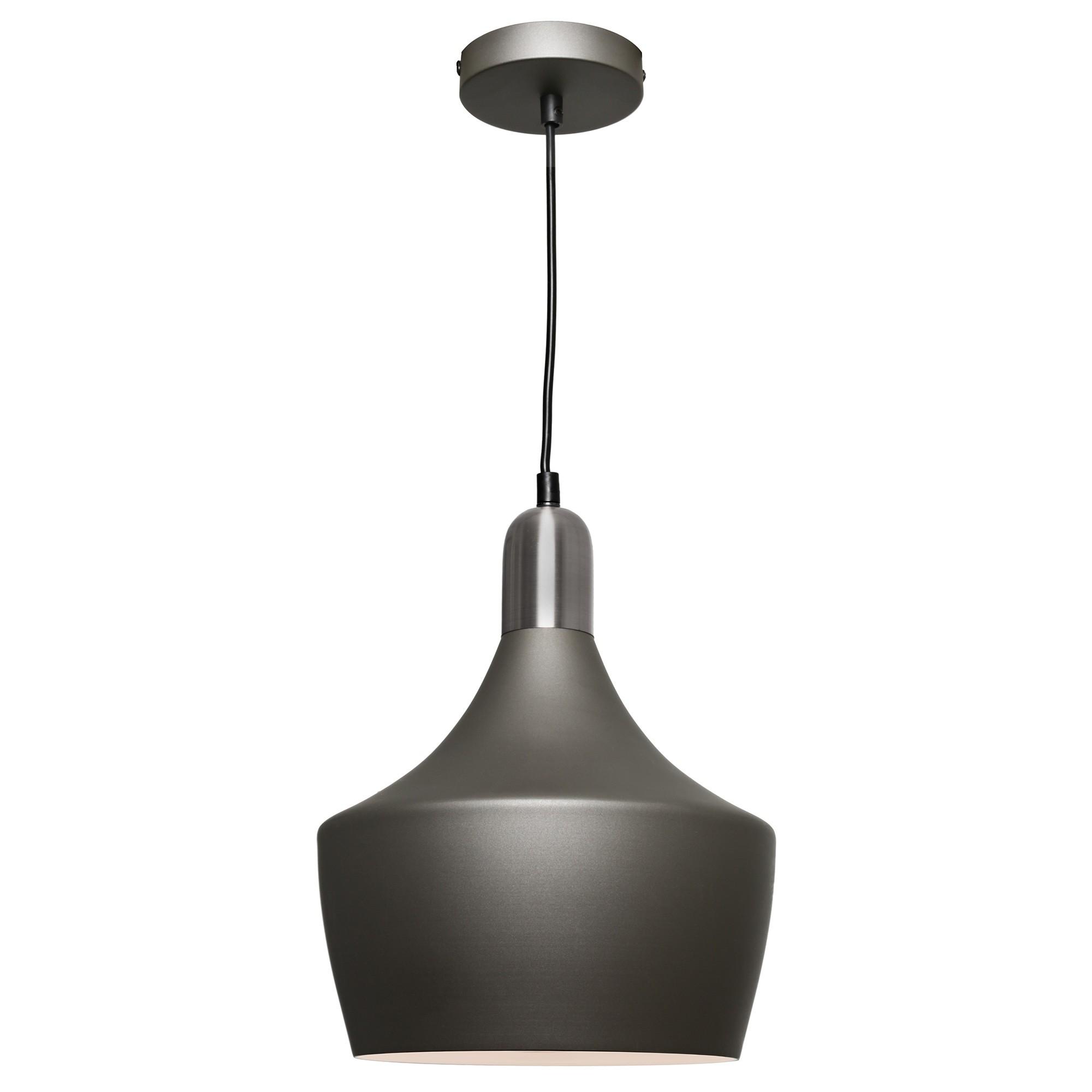 Bevo Metal Pendant Light, Cup, Charcoal / Satin Chrome