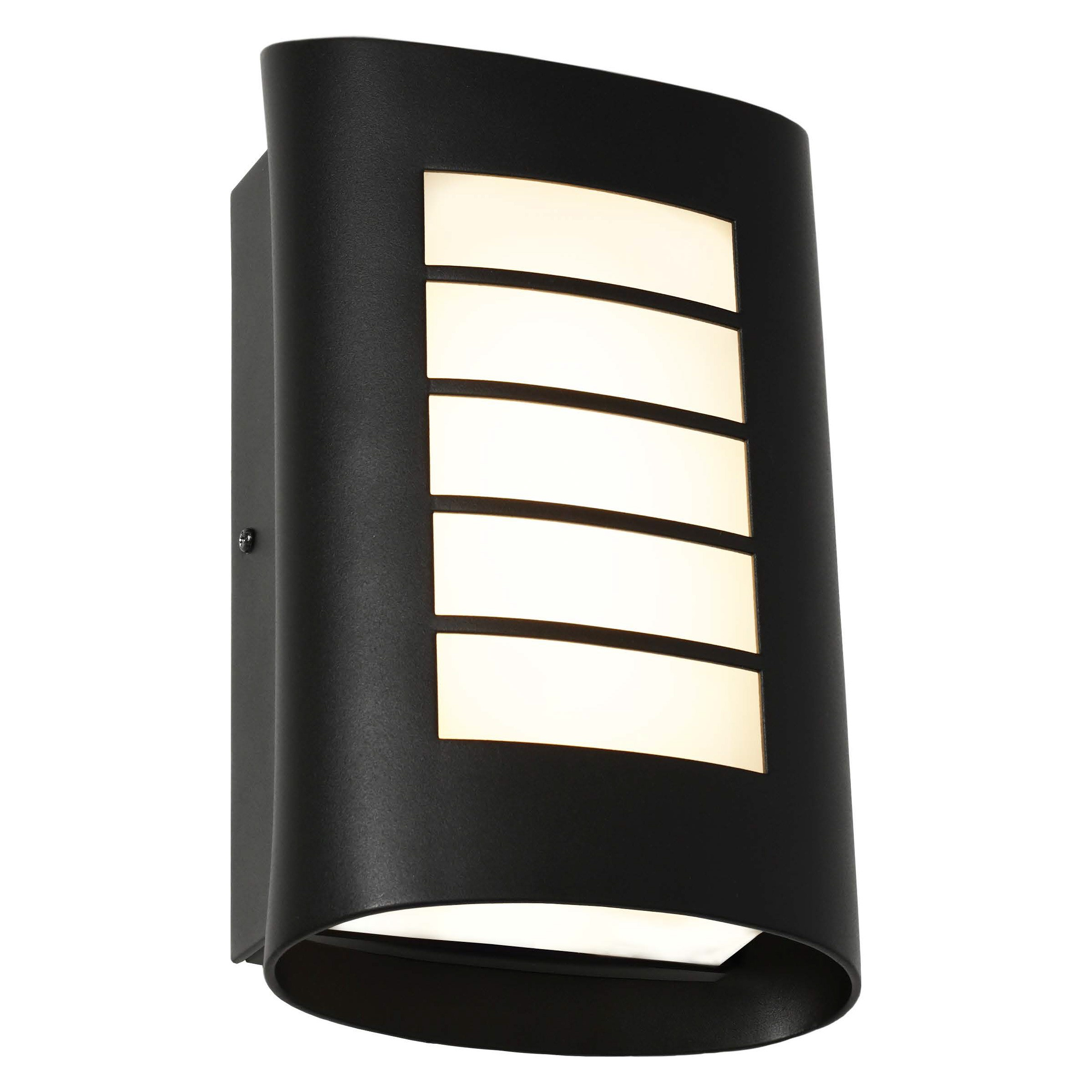 Bicheno IP44 Metal Exterior LED Wall Light, Black