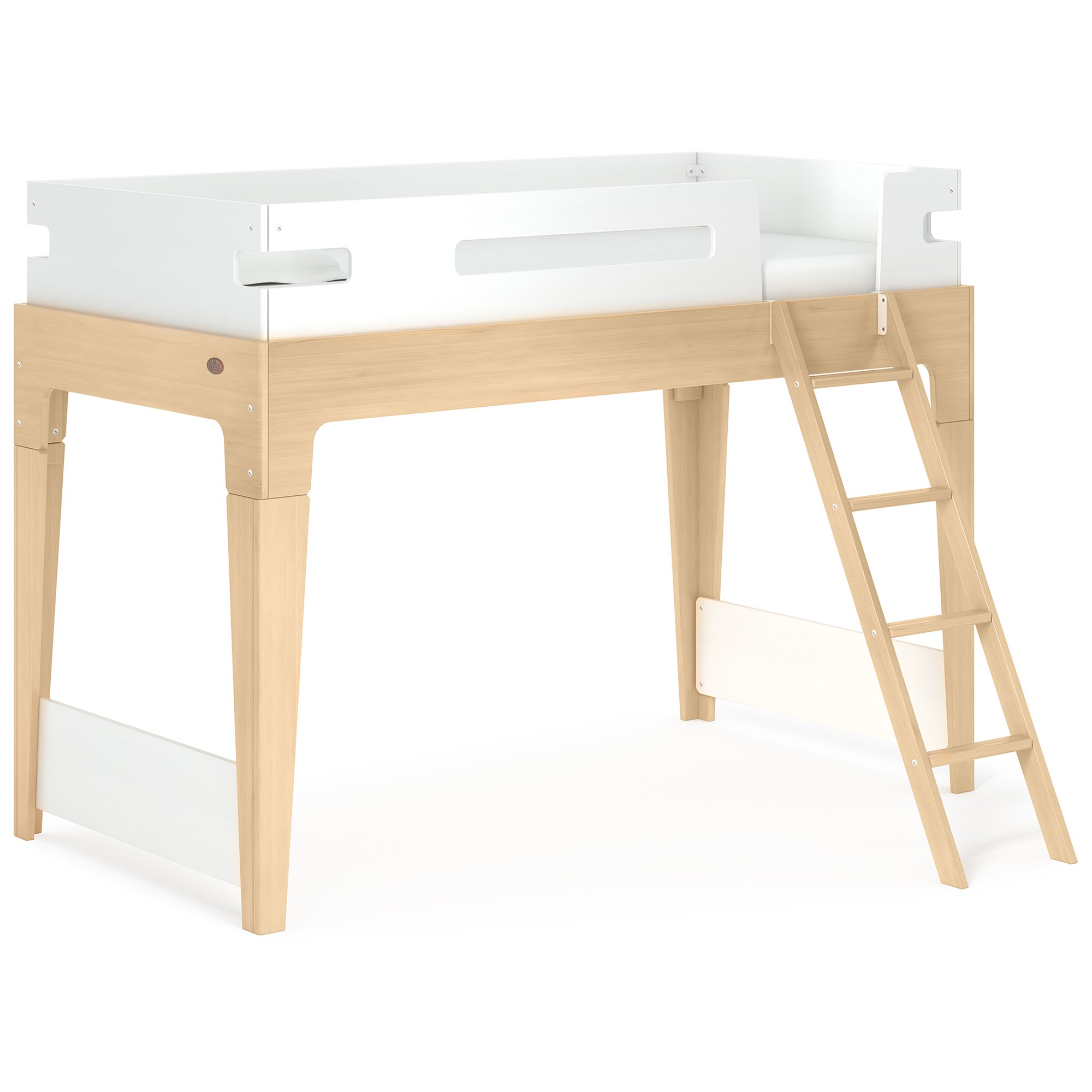 Boori Tidy Wooden Loft Bed, Single, Barley White / Almond