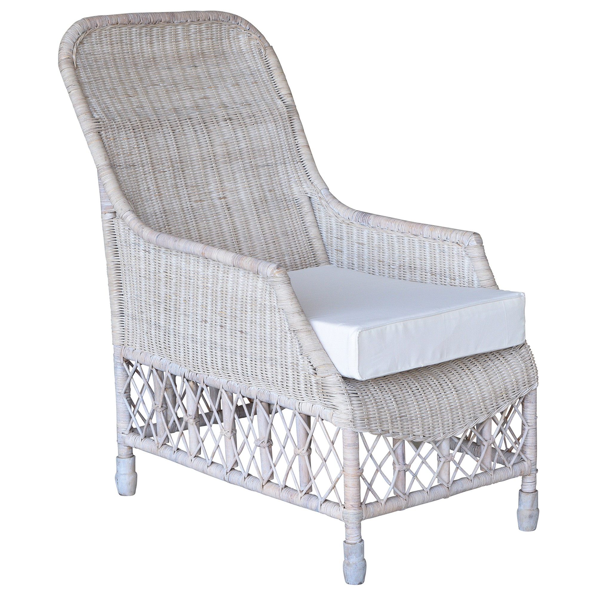 Savannah Lattice Rattan Lounge Armchair, White Wash