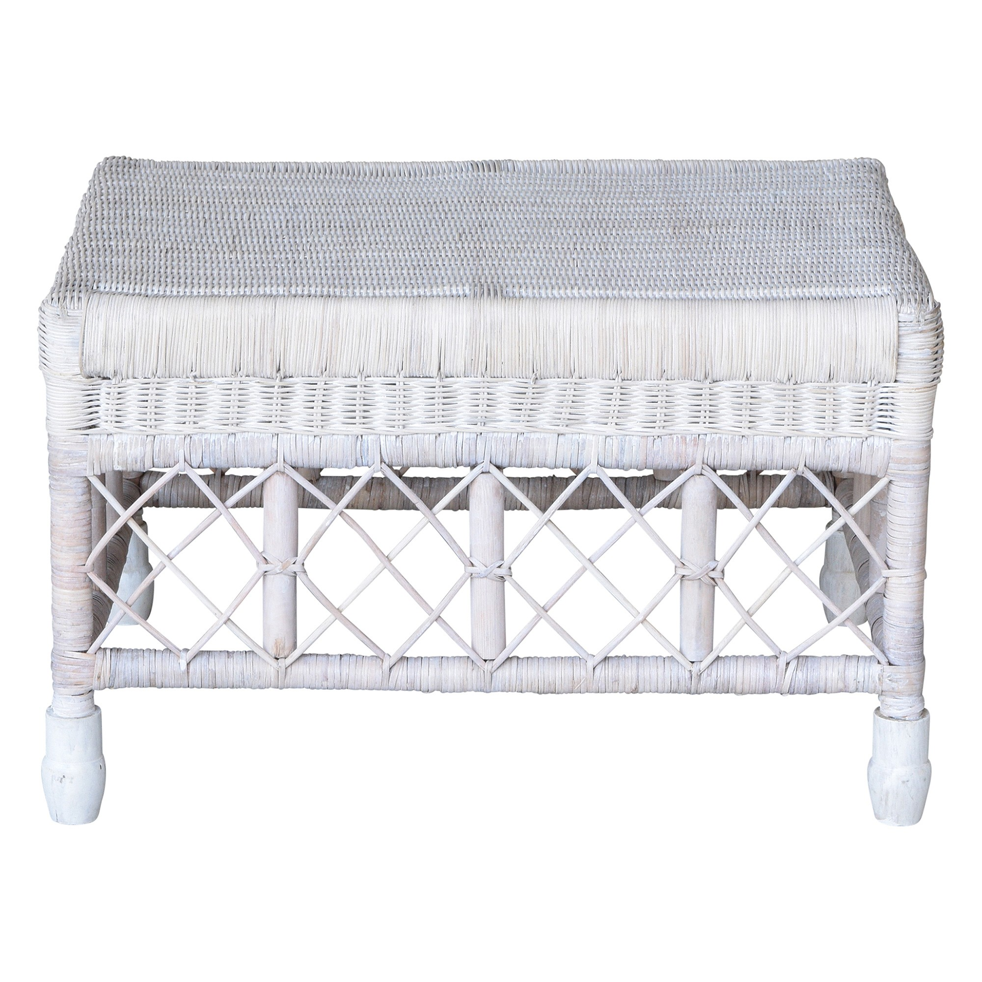 Savannah Lattice Rattan Ottoman / Footstool, White Wash